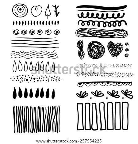 Drawing created in sketch handmade technique. Shapes on white paper. Texture background. Vector illustration design element. - stock vector
