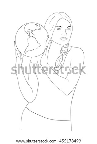 drawing cute girl holding globe sphere in her hands - stock vector