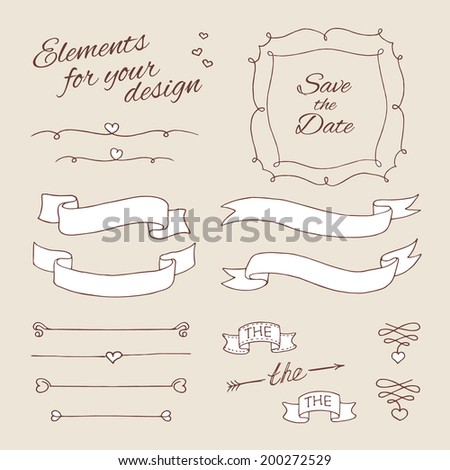 drawing elements for design. wedding