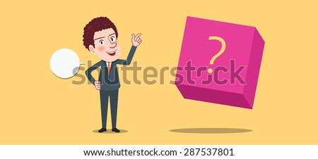 Drawing flat character design question concept - stock vector