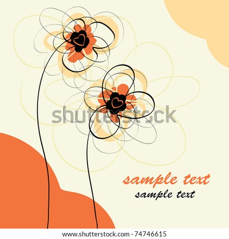 Drawing floral background - stock vector