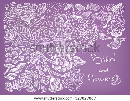 drawing flowers and bird pattern on violet background - stock vector