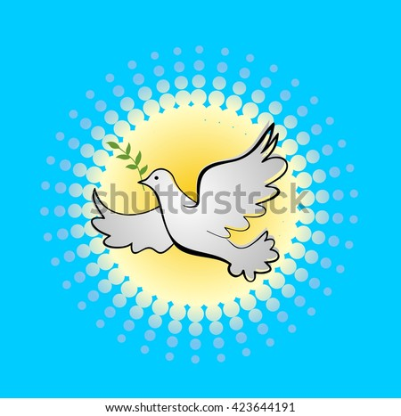 Drawing flying dove with olive branch - stock vector