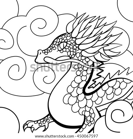 drawing flying dragon coloring page decoration stock vector