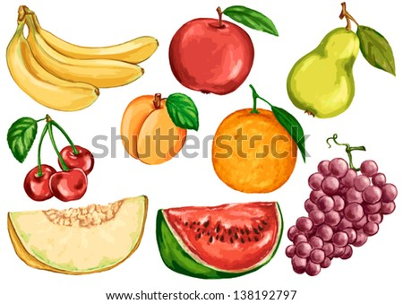 drawing foods based on fruits fruit citrus banana apple pear