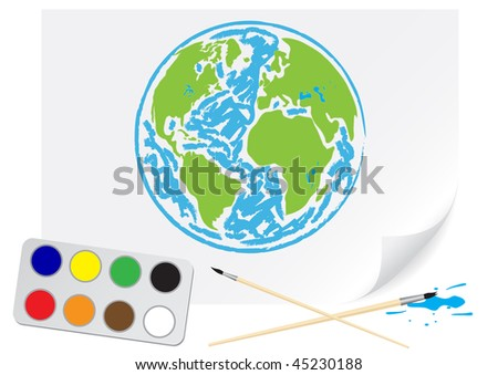 Drawing green Earth - stock vector