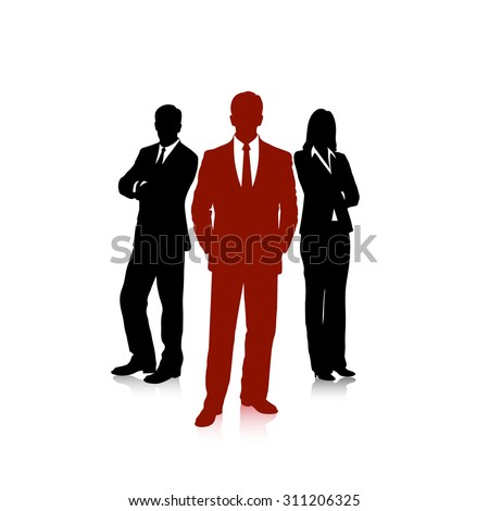drawing group of business people - stock vector