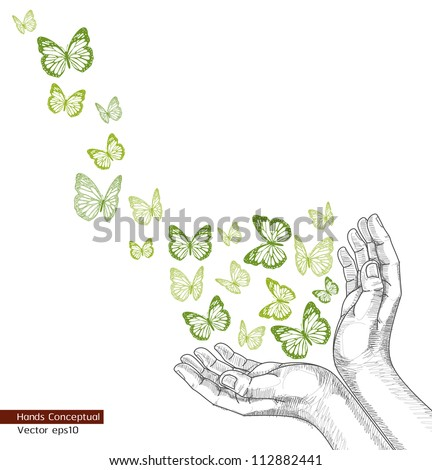 Drawing Hands releasing butterfly(Vector). jpg version also available - stock vector