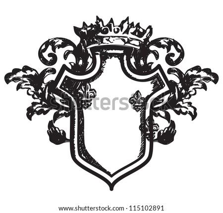 Drawing heraldic coat of arms - stock vector