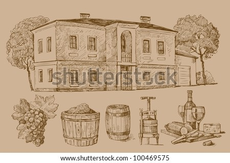 drawing - house - stock vector