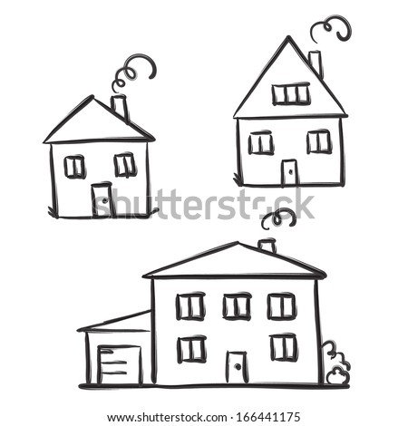 Drawing houses, vector sketch - stock vector