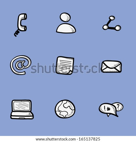 Drawing icons collection of internet communication