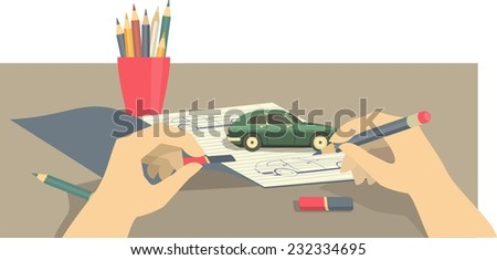 Drawing in a notebook on top stands a small model car hands with pencil and grater  - stock vector