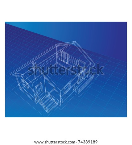 drawing in isometric projection at home on a blue background - stock vector