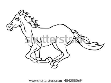 Drawing lines of running horse black and white, illustration design.