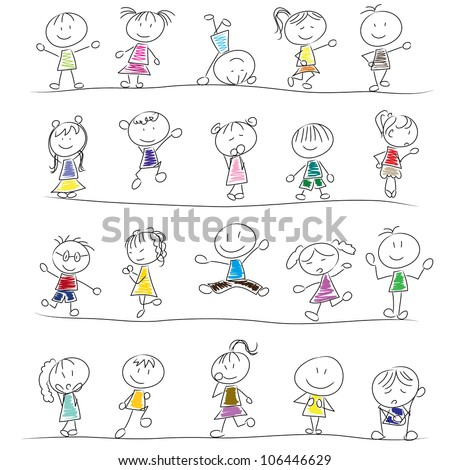 drawing little children doodle with different poses - stock vector