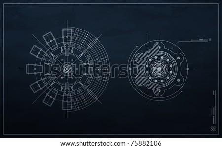 drawing mechanism on a dark background. blueprint - stock vector