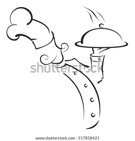 drawing of a chef with hat and hot plate tray made with lines - stock vector