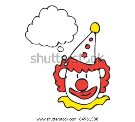 Drawing of a clown with a speech bubble