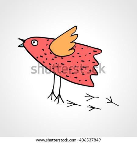 Drawing of a colored cartoon bird. Vector illustration - stock vector