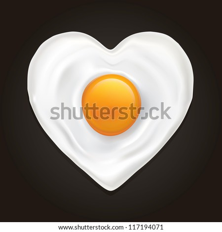 Drawing of a heart-shaped fried egg on a black background - stock vector