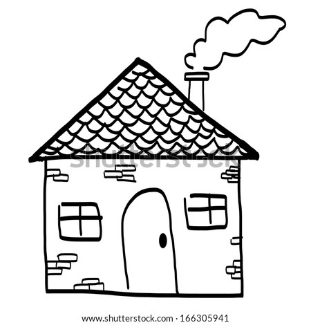 Drawing of a house in a cartoon style. Hand drawing sketch vector illustration - stock vector
