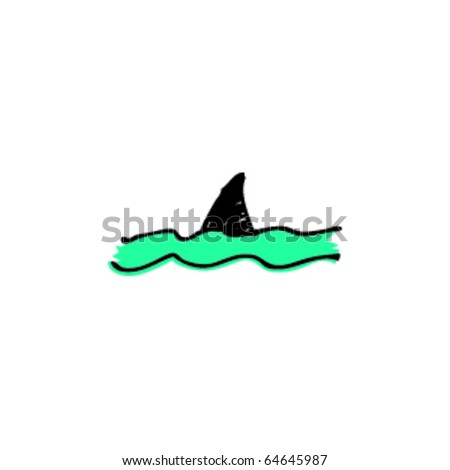 drawing of a shark fin - stock vector