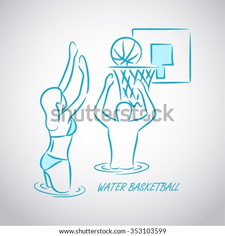Drawing of a young practicing water basketball - stock vector