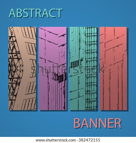 Drawing of abstract architectural detail on flat surface. Image of colorful texture for use as background for web and print. Template for cover or banner with draft of a building.