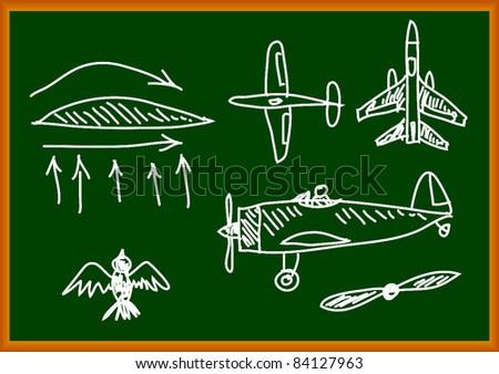 Drawing of aircraft - stock vector
