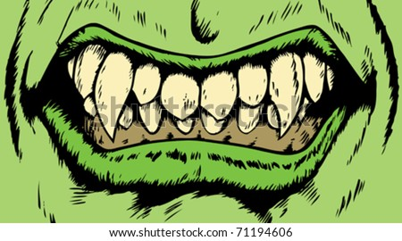 Drawing of an angry monster mouth with scary fangs. - stock vector