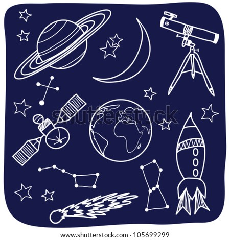 Drawing of astronomical objects - hand-drawn illustration - stock vector