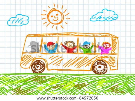 Drawing of bus - stock vector