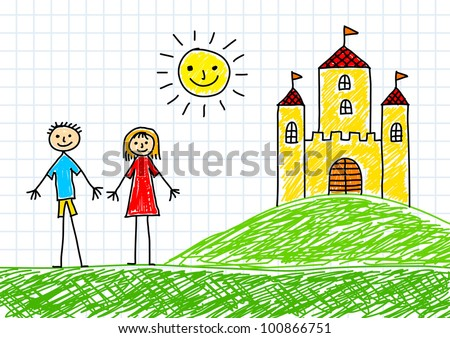 drawing of children and castle on squared paper