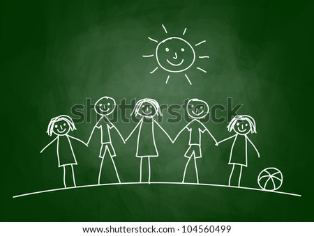 Drawing of children on blackboard - stock vector