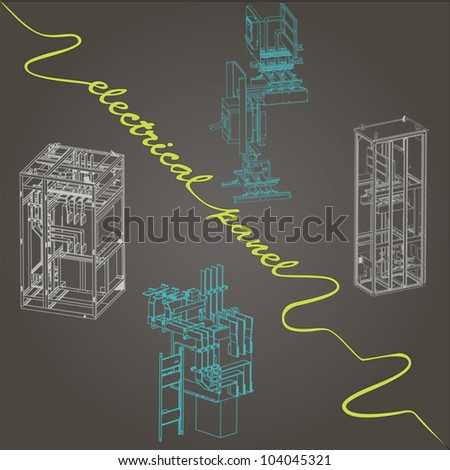 drawing of electrical panel at a assembly line factory - stock vector