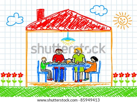 Drawing of family - stock vector