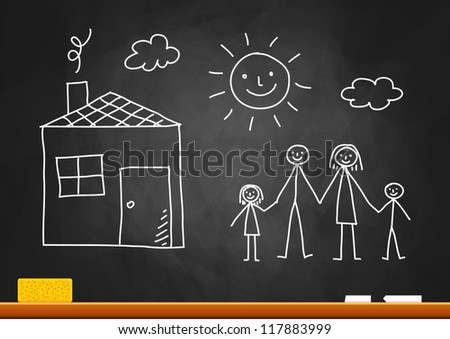 Drawing of family and house on blackboard - stock vector