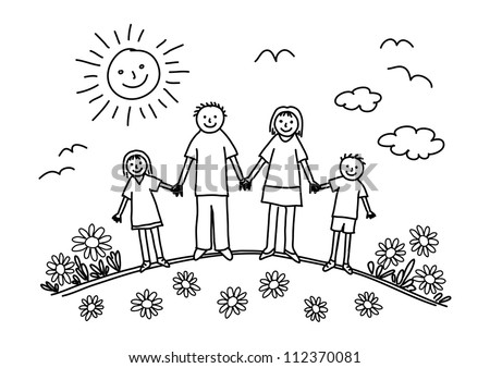 Drawing of family on white background - stock vector