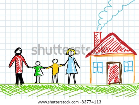 Drawing of family with house - stock vector
