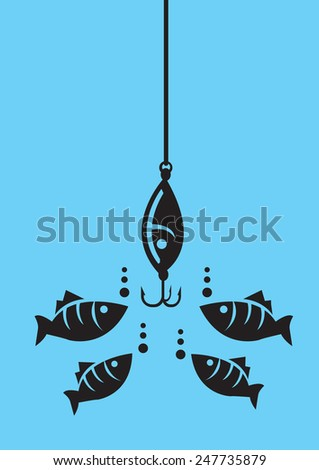 Drawing of fishes attracted to fishing bait with hooks under water. Minimalist style vector illustration in black isolated on blue background - stock vector