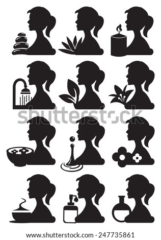 Drawing of girl silhouette in profile view with spa treatment related icons. Black and white lifestyle vector icon set isolated on white background - stock vector