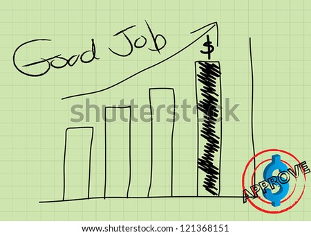 Drawing of graph on paper - stock vector