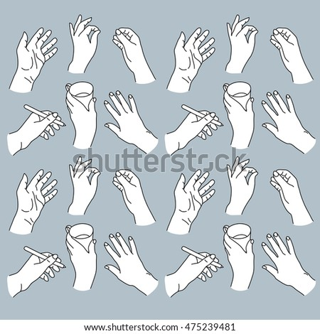 Drawing of human hands in various positions