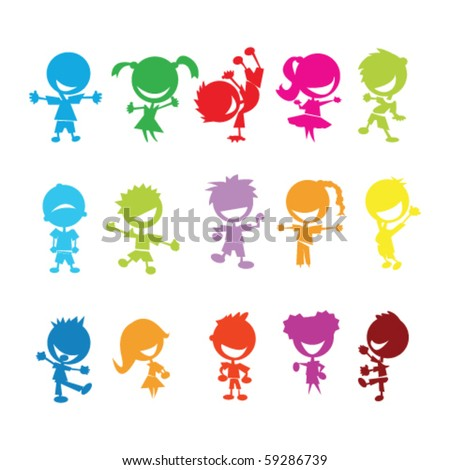 drawing of isolated colorful kids on white background - stock vector