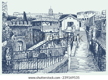 Drawing of Italy cityscape - Rome with fortress of Sant'Angelo, sketch vector illustration - stock vector