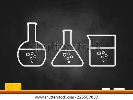 Drawing of laboratory glass on blackboard - stock vector