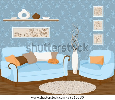 Drawing of living room - stock vector