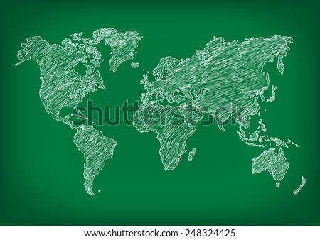 Drawing of map on blackboard.Vector illustration - stock vector