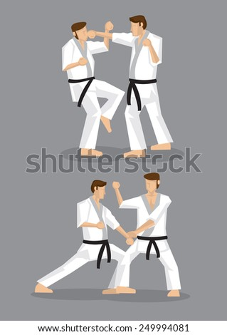 Drawing of martial arts practitioners pulling punches during sparring practice. Two set of vector drawings isolated on grey background, applicable to Japanese karate and Korean taekwondo.  - stock vector